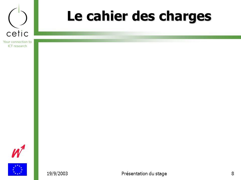 19/9/2003Présentation du stage8 Le cahier des charges