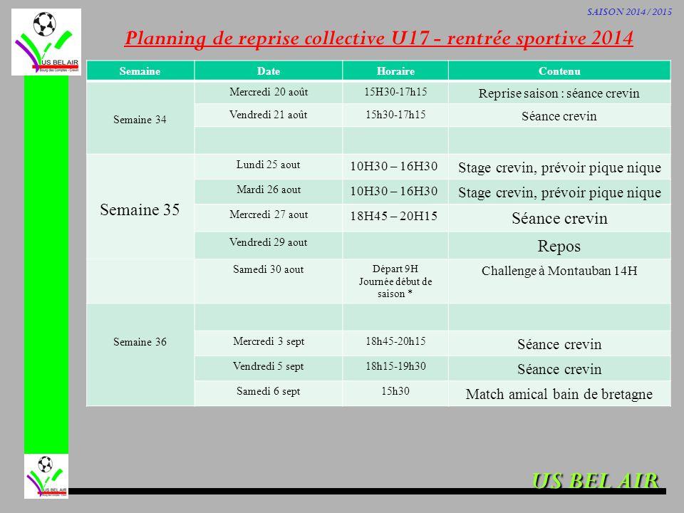 US BEL AIR SAISON 2014/2015 Planning de reprise collective U17 - rentrée sportive 2014 SemaineDateHoraireContenu Semaine 34 Mercredi 20 août15H30-17h1