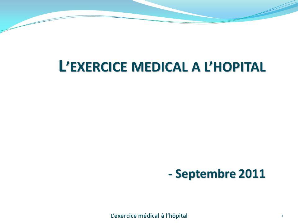 2 Un système de santé recomposé, Un hôpital public en mouvement, Des citoyens mieux soignés, Des praticiens plus reconnus …Pour un exercice médical motivant, soutenu et valorisé L'exercice médical à l'hôpital