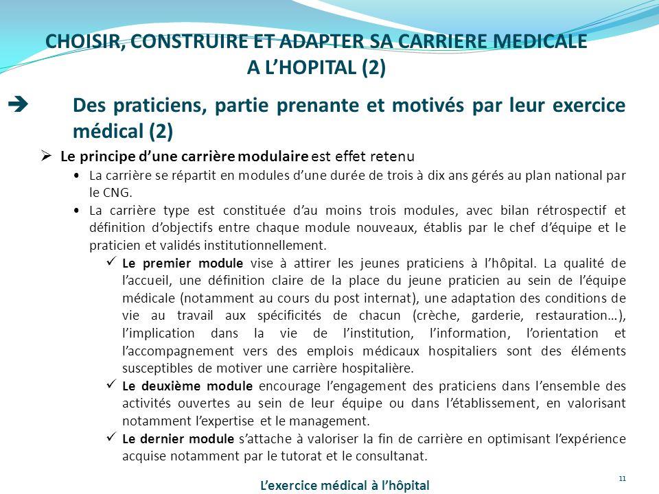 11 CHOISIR, CONSTRUIRE ET ADAPTER SA CARRIERE MEDICALE A L'HOPITAL (2)  Des praticiens, partie prenante et motivés par leur exercice médical (2)  Le