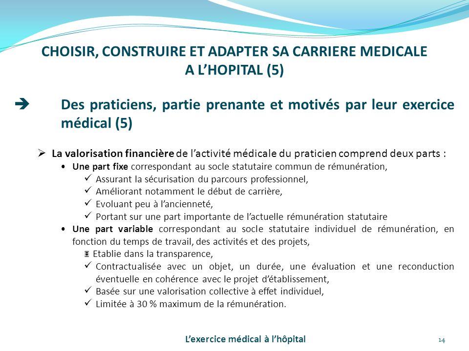 14 CHOISIR, CONSTRUIRE ET ADAPTER SA CARRIERE MEDICALE A L'HOPITAL (5)  Des praticiens, partie prenante et motivés par leur exercice médical (5)  La