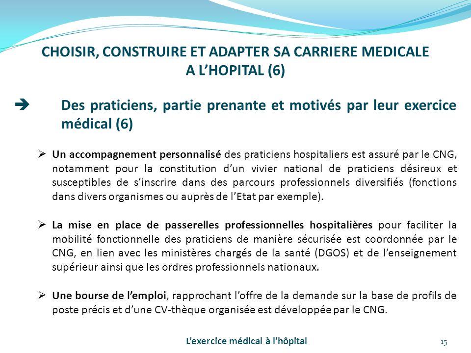 15 CHOISIR, CONSTRUIRE ET ADAPTER SA CARRIERE MEDICALE A L'HOPITAL (6)  Des praticiens, partie prenante et motivés par leur exercice médical (6)  Un