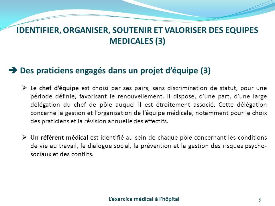 5 IDENTIFIER, ORGANISER, SOUTENIR ET VALORISER DES EQUIPES MEDICALES (3)  Des praticiens engagés dans un projet d'équipe (3)  Le chef d'équipe est c
