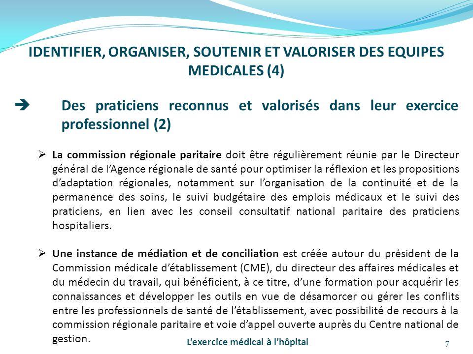 7 IDENTIFIER, ORGANISER, SOUTENIR ET VALORISER DES EQUIPES MEDICALES (4)  Des praticiens reconnus et valorisés dans leur exercice professionnel (2) 