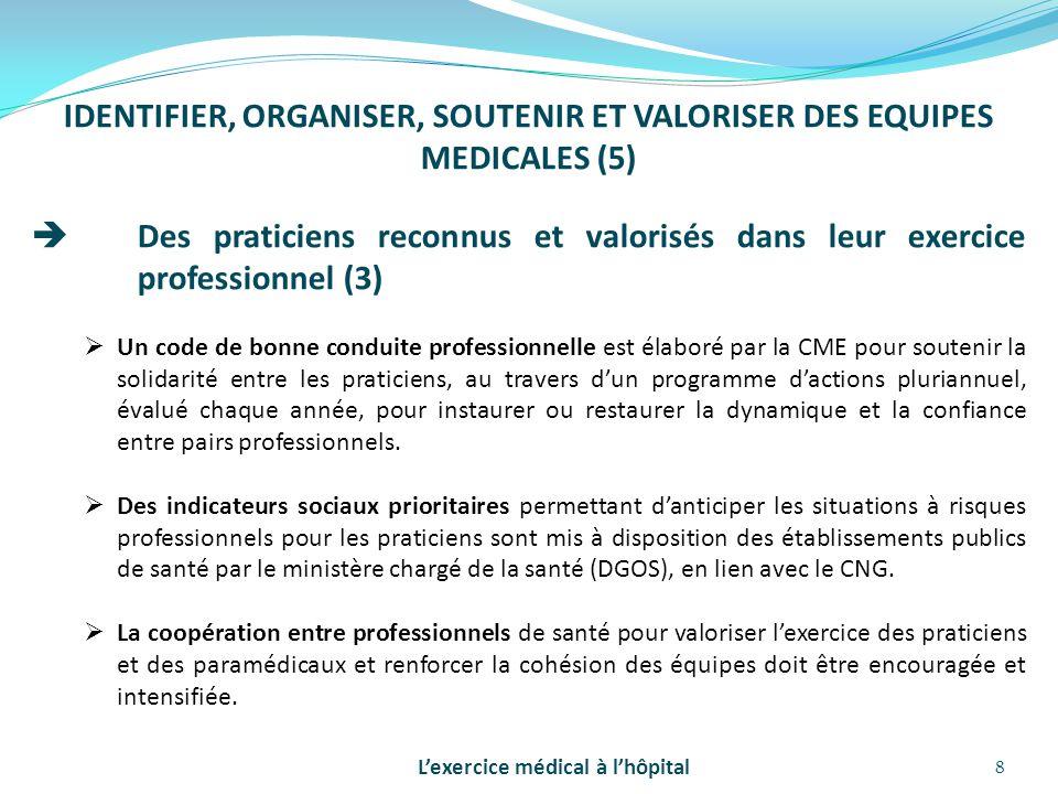 8 IDENTIFIER, ORGANISER, SOUTENIR ET VALORISER DES EQUIPES MEDICALES (5)  Des praticiens reconnus et valorisés dans leur exercice professionnel (3) 
