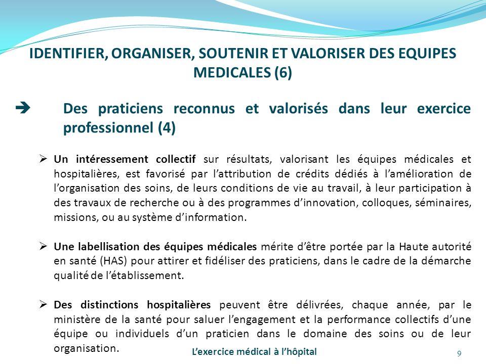 9 IDENTIFIER, ORGANISER, SOUTENIR ET VALORISER DES EQUIPES MEDICALES (6)  Des praticiens reconnus et valorisés dans leur exercice professionnel (4) 