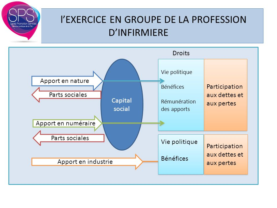 l'EXERCICE EN GROUPE DE LA PROFESSION D'INFIRMIERE Apport en nature Apport en numéraire Apport en industrie Capital social Parts sociales Droits Parti