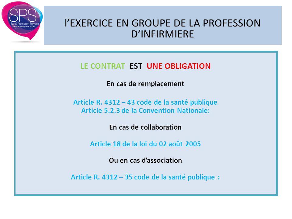 l'EXERCICE EN GROUPE DE LA PROFESSION D'INFIRMIERE LE CONTRAT EST UNE OBLIGATION En cas de remplacement Article R. 4312 – 43 code de la santé publique