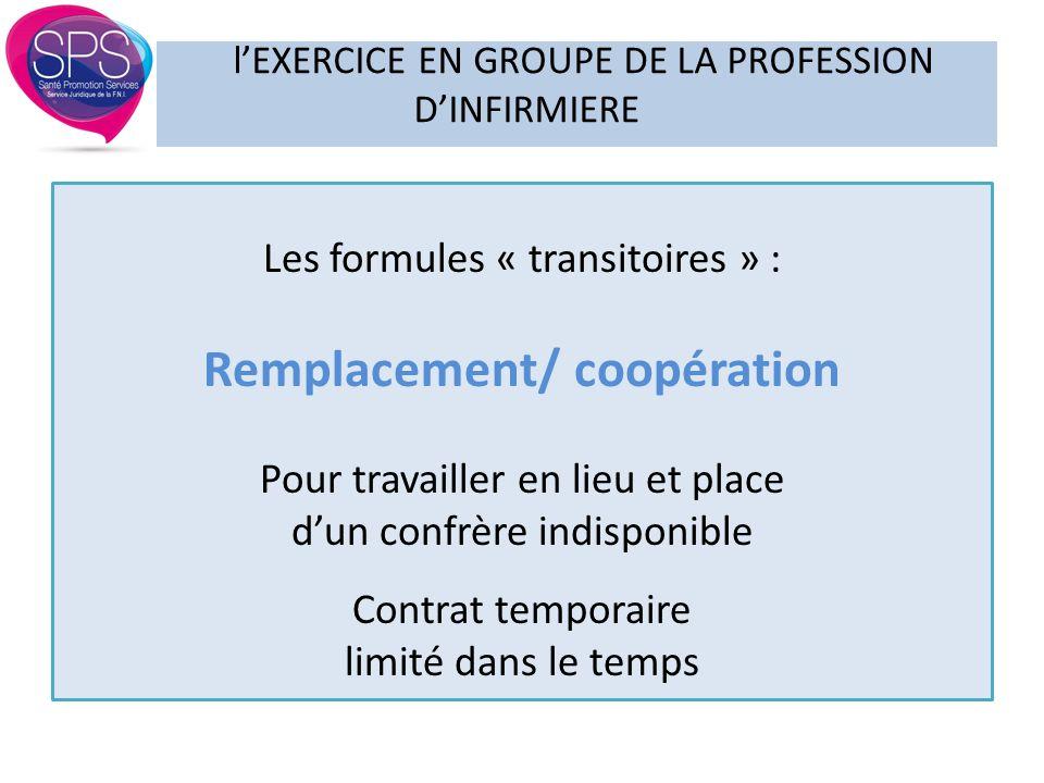 Les formules « transitoires » : Remplacement/ coopération Pour travailler en lieu et place d'un confrère indisponible Contrat temporaire limité dans l