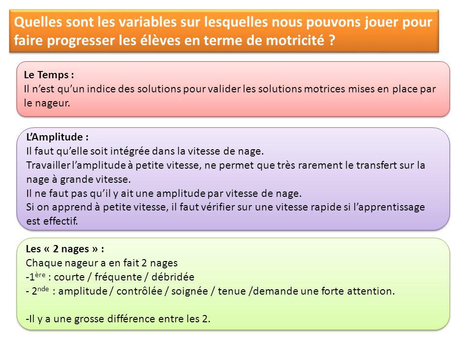 Quelles sont les variables sur lesquelles nous pouvons jouer pour faire progresser les élèves en terme de motricité .