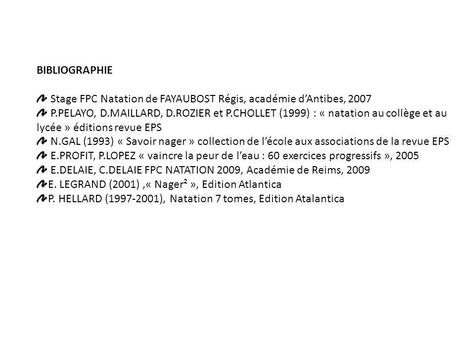 BIBLIOGRAPHIE Stage FPC Natation de FAYAUBOST Régis, académie d'Antibes, 2007 P.PELAYO, D.MAILLARD, D.ROZIER et P.CHOLLET (1999) : « natation au collège et au lycée » éditions revue EPS N.GAL (1993) « Savoir nager » collection de l'école aux associations de la revue EPS E.PROFIT, P.LOPEZ « vaincre la peur de l'eau : 60 exercices progressifs », 2005 E.DELAIE, C.DELAIE FPC NATATION 2009, Académie de Reims, 2009 E.