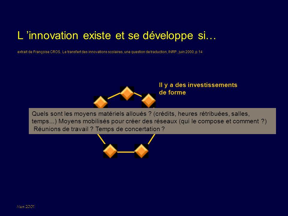 Mars 2001 L 'innovation existe et se développe si… Il y a des investissements de forme extrait de Françoise CROS, Le transfert des innovations scolaires, une question de traduction, INRP, juin 2000, p.14 Quels sont les moyens matériels alloués .