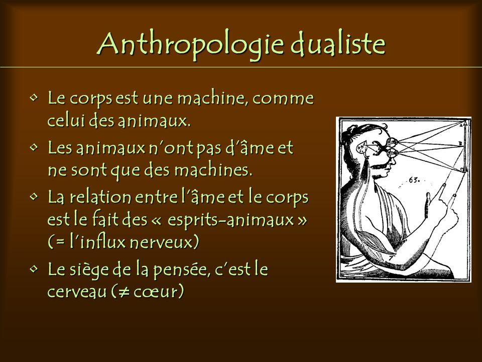 Anthropologie dualiste Le corps est une machine, comme celui des animaux.Le corps est une machine, comme celui des animaux. Les animaux n'ont pas d'âm