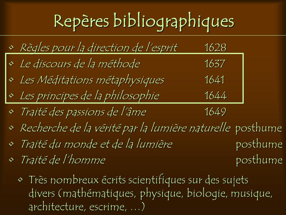 Repères bibliographiques Règles pour la direction de l'esprit 1628Règles pour la direction de l'esprit 1628 Le discours de la méthode 1637Le discours