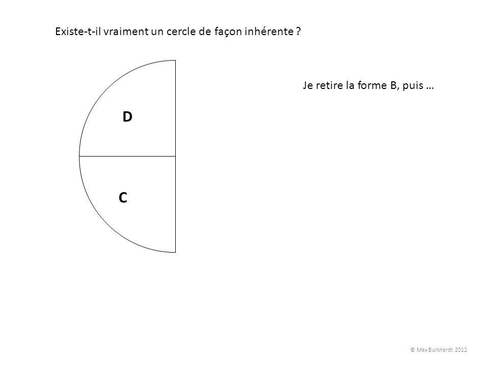 A B C D Existe-t-il vraiment un cercle de façon inhérente ? Je retire la forme B, puis … © Max Burkhardt 2012