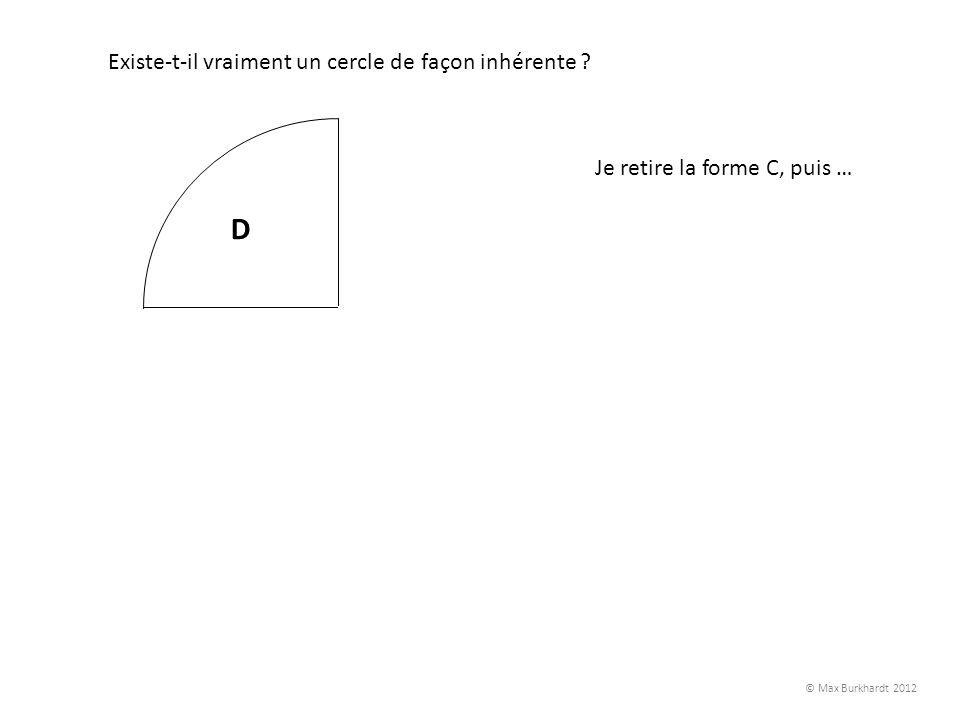 A B C D Existe-t-il vraiment un cercle de façon inhérente ? Je retire la forme C, puis … © Max Burkhardt 2012