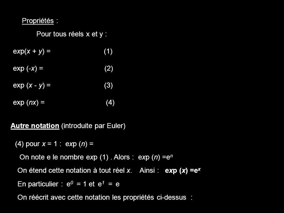 Pour tous réels x et y : exp(x + y) = (1) exp (-x) = (2) exp (x - y) = (3) exp (nx) = (4) exp(x).exp(y) Propriétés : [exp(x)] n Autre notation (introd