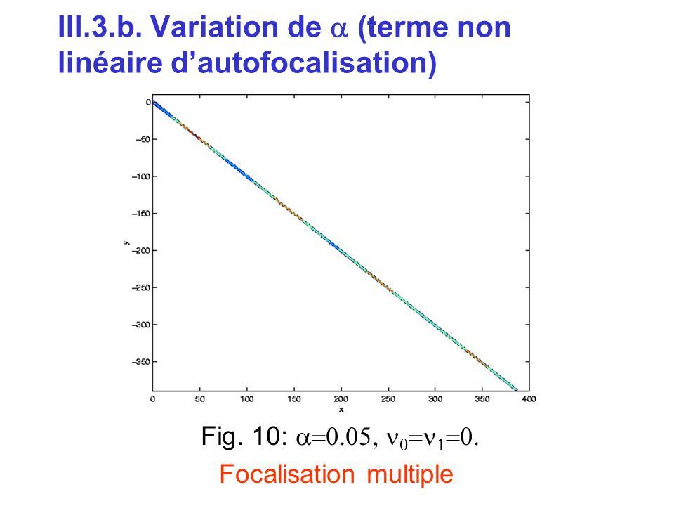 III.3.b. Variation de  (terme non linéaire d'autofocalisation) Fig. 10:      Focalisation multiple