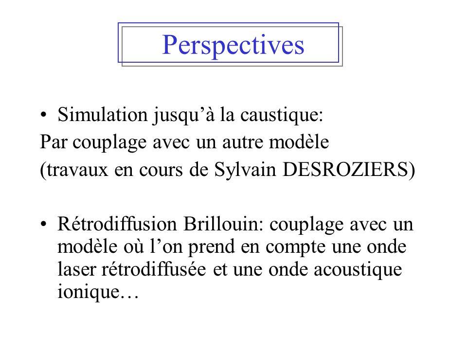 Perspectives Simulation jusqu'à la caustique: Par couplage avec un autre modèle (travaux en cours de Sylvain DESROZIERS) Rétrodiffusion Brillouin: cou