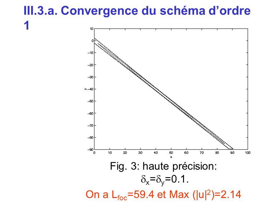 III.3.a. Convergence du schéma d'ordre 1 Fig. 3: haute précision:  x =  y =0.1. On a L foc =59.4 et Max (|u| 2 )=2.14