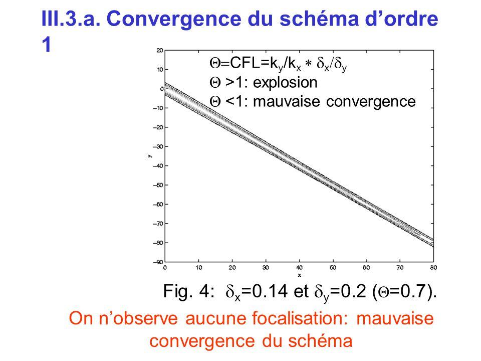 III.3.a. Convergence du schéma d'ordre 1 Fig. 4:  x =0.14 et  y =0.2 (  =0.7). On n'observe aucune focalisation: mauvaise convergence du schéma 