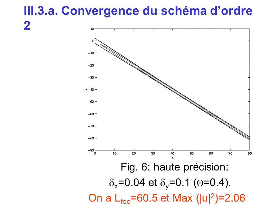 III.3.a. Convergence du schéma d'ordre 2 Fig. 6: haute précision:  x =0.04 et  y =0.1 (  =0.4). On a L foc =60.5 et Max (|u| 2 )=2.06