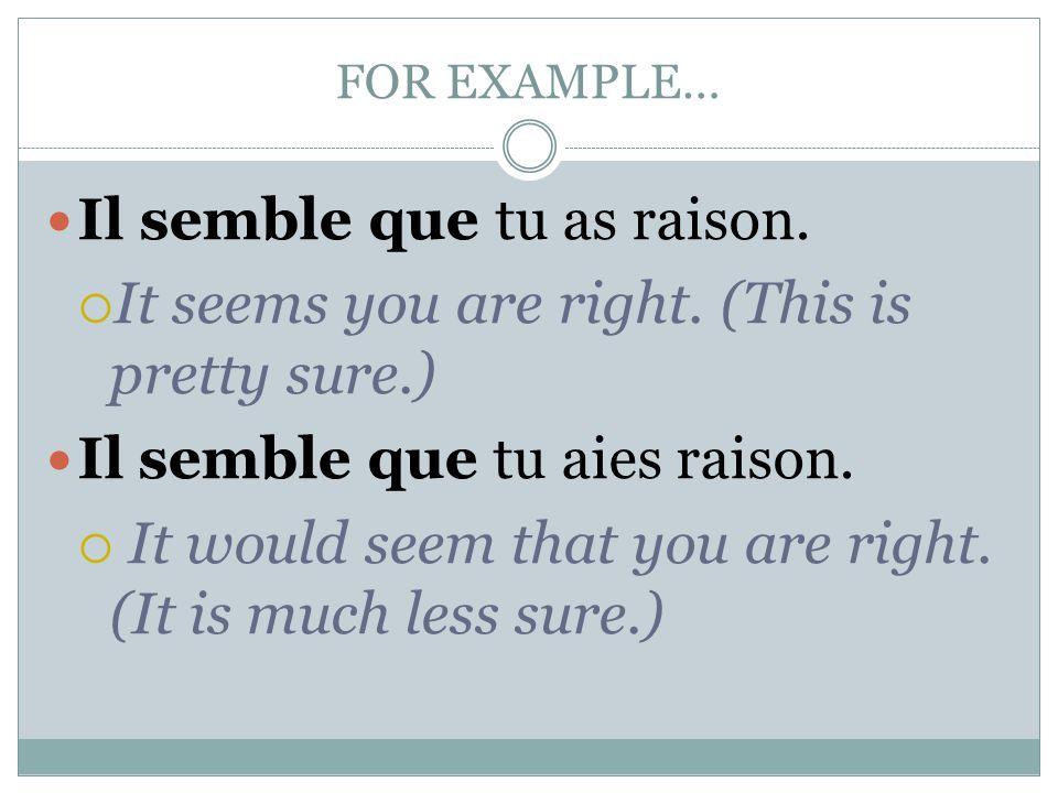 FOR EXAMPLE… Il semble que tu as raison.  It seems you are right. (This is pretty sure.) Il semble que tu aies raison.  It would seem that you are r