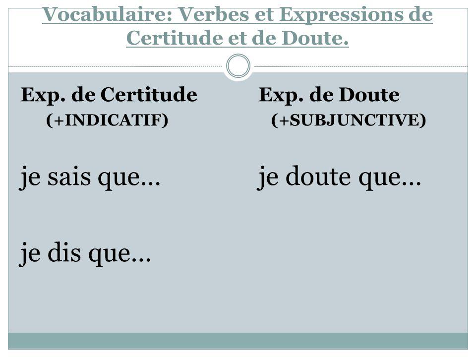 Vocabulaire: Verbes et Expressions de Certitude et de Doute. Exp. de Certitude Exp. de Doute (+INDICATIF) (+SUBJUNCTIVE) je sais que…je doute que… je