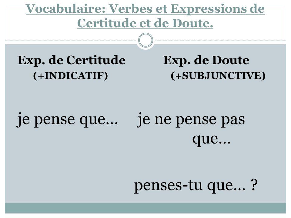 Vocabulaire: Verbes et Expressions de Certitude et de Doute. Exp. de Certitude Exp. de Doute (+INDICATIF) (+SUBJUNCTIVE) je pense que… je ne pense pas