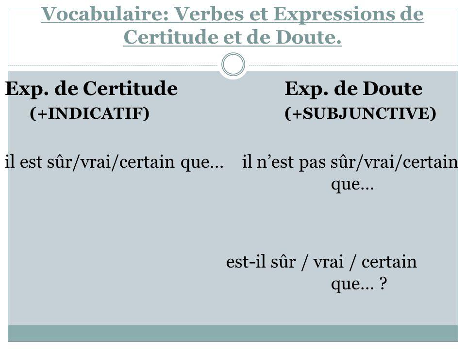Vocabulaire: Verbes et Expressions de Certitude et de Doute. Exp. de Certitude Exp. de Doute (+INDICATIF) (+SUBJUNCTIVE) il est sûr/vrai/certain que…