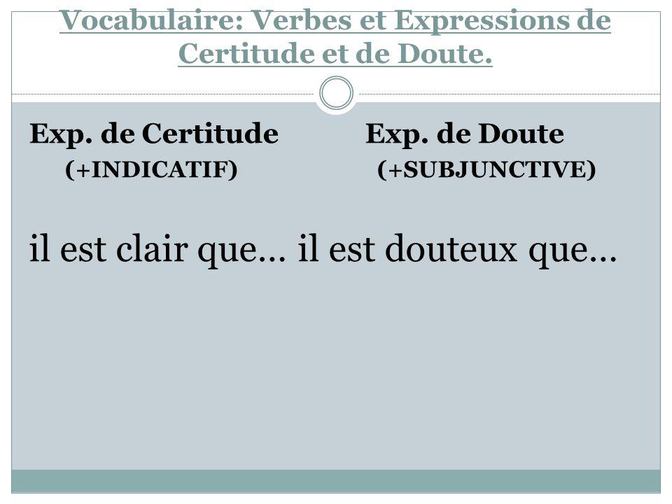 Vocabulaire: Verbes et Expressions de Certitude et de Doute. Exp. de Certitude Exp. de Doute (+INDICATIF) (+SUBJUNCTIVE) il est clair que…il est doute