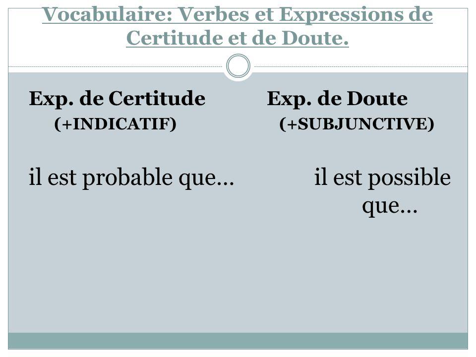 Vocabulaire: Verbes et Expressions de Certitude et de Doute. Exp. de Certitude Exp. de Doute (+INDICATIF) (+SUBJUNCTIVE) il est probable que…il est po