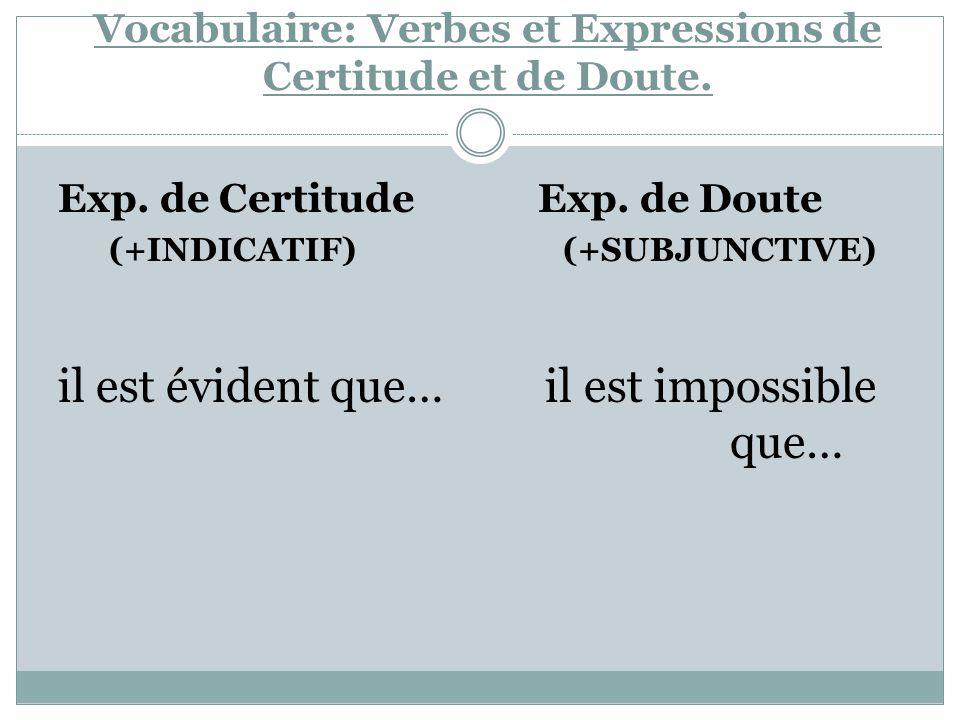 Vocabulaire: Verbes et Expressions de Certitude et de Doute. Exp. de Certitude Exp. de Doute (+INDICATIF) (+SUBJUNCTIVE) il est évident que… il est im