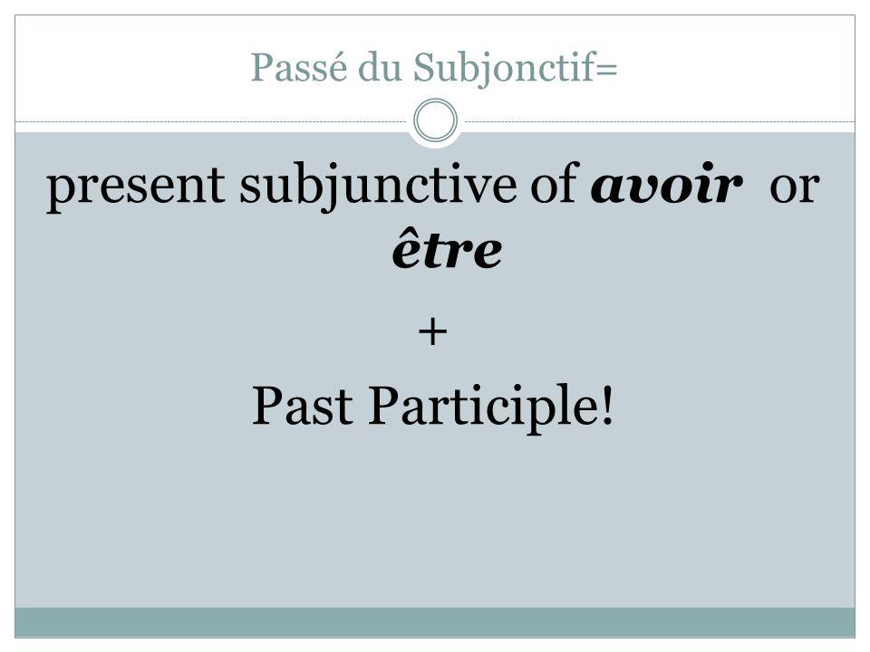 Passé du Subjonctif= present subjunctive of avoir or être + Past Participle!