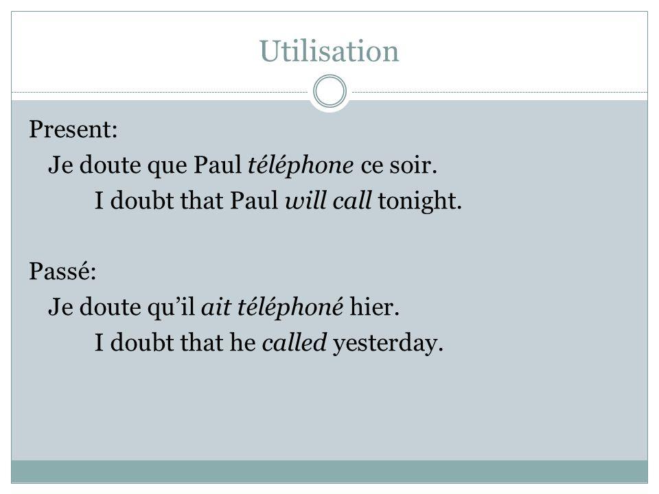 Utilisation Present: Je doute que Paul téléphone ce soir. I doubt that Paul will call tonight. Passé: Je doute qu'il ait téléphoné hier. I doubt that