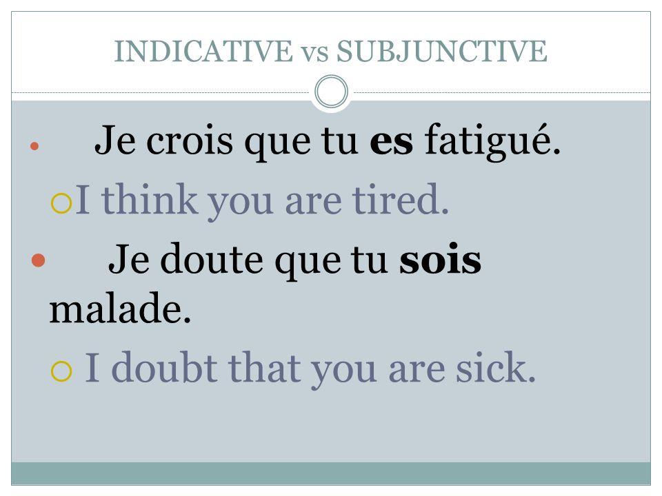 INDICATIVE vs SUBJUNCTIVE Le médecin pense que j'ai la grippe.