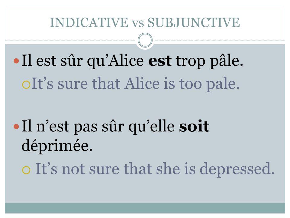 INDICATIVE vs SUBJUNCTIVE Il est sûr qu'Alice est trop pâle.  It's sure that Alice is too pale. Il n'est pas sûr qu'elle soit déprimée.  It's not su