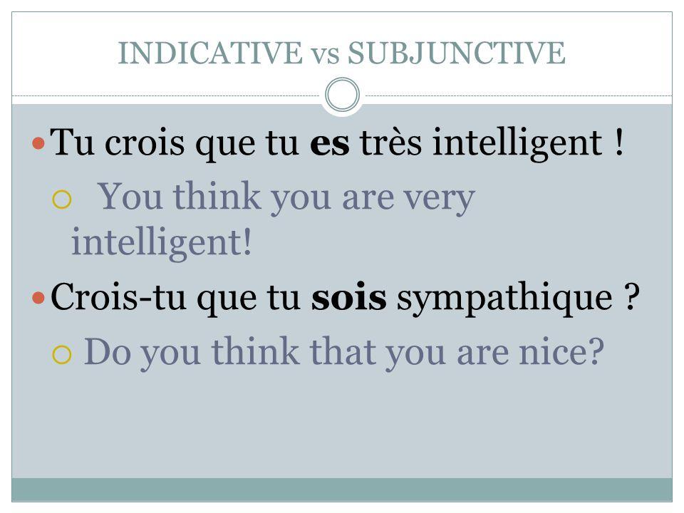 INDICATIVE vs SUBJUNCTIVE Tu crois que tu es très intelligent !  You think you are very intelligent! Crois-tu que tu sois sympathique ?  Do you thin