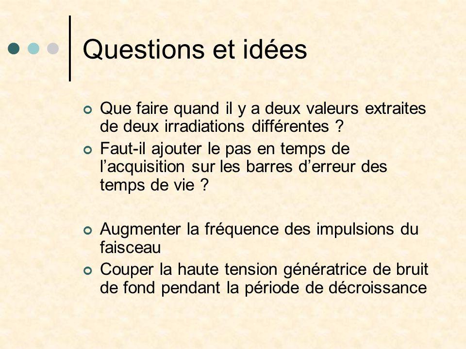 Questions et idées Que faire quand il y a deux valeurs extraites de deux irradiations différentes .