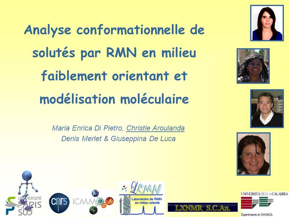 Analyse conformationnelle de solutés par RMN en milieu faiblement orientant et modélisation moléculaire Maria Enrica Di Pietro, Christie Aroulanda Denis Merlet & Giuseppina De Luca