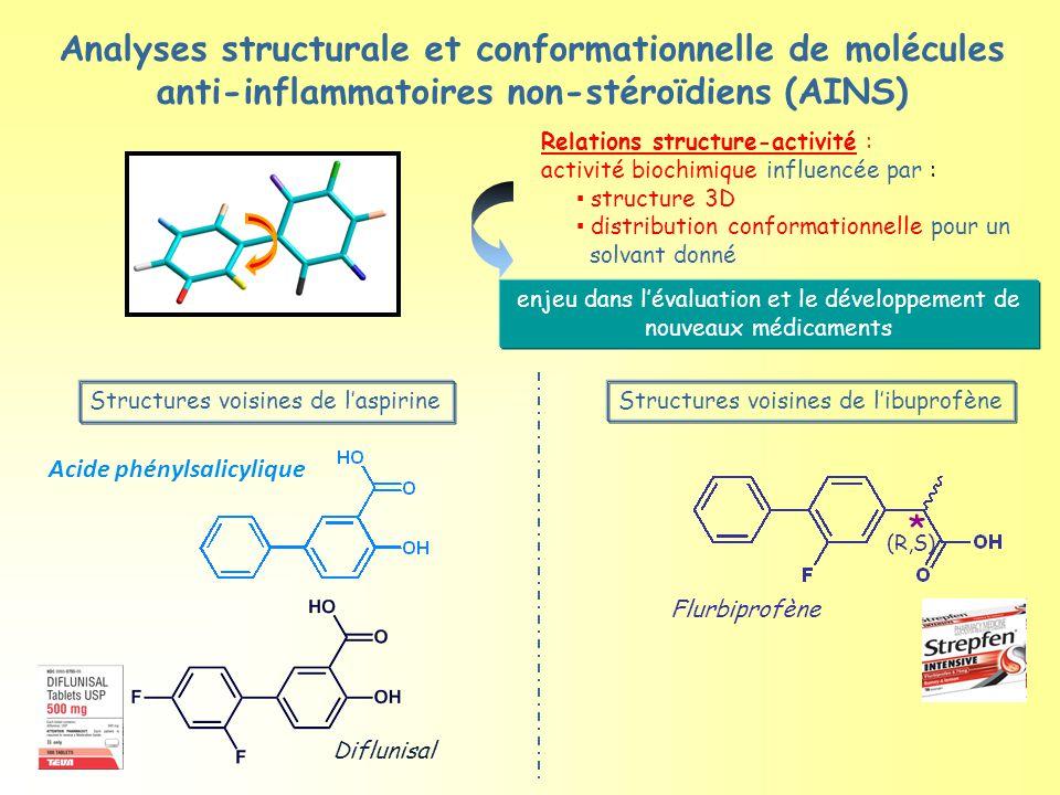 Analyses structurale et conformationnelle de molécules anti-inflammatoires non-stéroïdiens (AINS) Acide phénylsalicylique Flurbiprofène * (R,S) Diflunisal Relations structure-activité : activité biochimique influencée par : ▪ structure 3D ▪ distribution conformationnelle pour un solvant donné enjeu dans l'évaluation et le développement de nouveaux médicaments Structures voisines de l'aspirineStructures voisines de l'ibuprofène