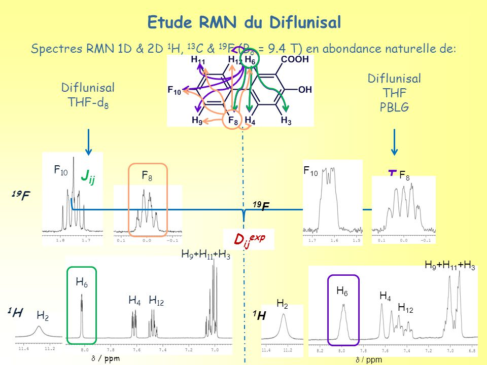  / ppm 19 F 1H1H H4H4 H 12 H6H6 H 9 +H 11 +H 3 H2H2 F 10 F8F8 Diflunisal THF-d 8 J ij T ij Spectres RMN 1D & 2D 1 H, 13 C & 19 F (B o = 9.4 T) en abo