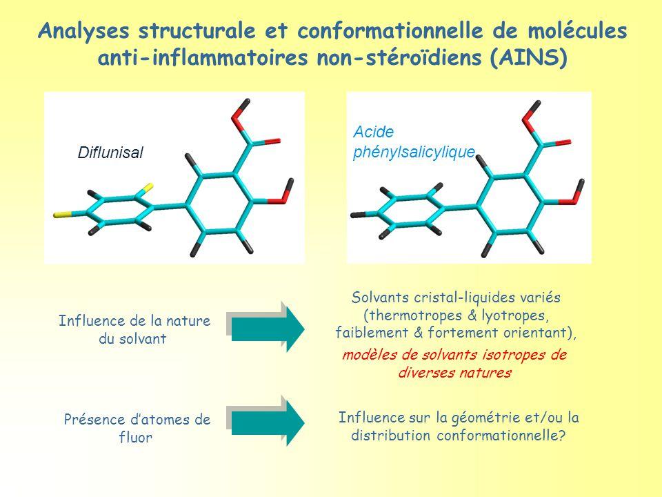 Influence de la nature du solvant Solvants cristal-liquides variés (thermotropes & lyotropes, faiblement & fortement orientant), Analyses structurale et conformationnelle de molécules anti-inflammatoires non-stéroïdiens (AINS) Présence d'atomes de fluor Influence sur la géométrie et/ou la distribution conformationnelle.