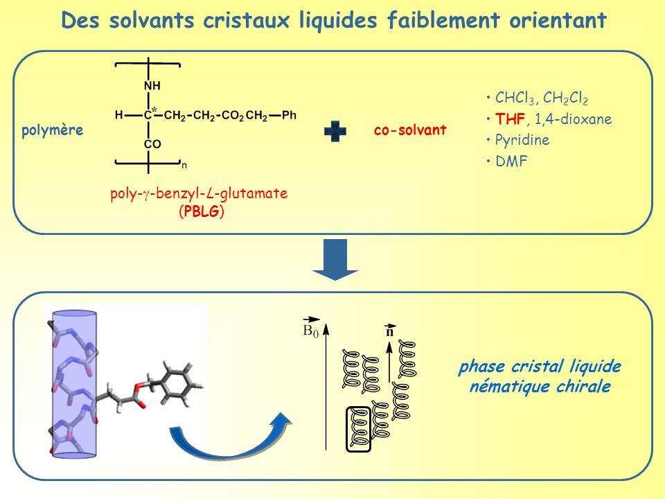 polymère poly-  -benzyl-L-glutamate (PBLG) co-solvant phase cristal liquide nématique chirale CHCl 3, CH 2 Cl 2 THF, 1,4-dioxane Pyridine DMF Des solvants cristaux liquides faiblement orientant