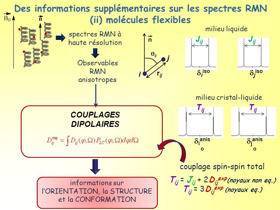Ɵ ij r ij n COUPLAGES DIPOLAIRES informations sur l'ORIENTATION, la STRUCTURE et la CONFORMATION couplage spin-spin total T ij = J ij + 2D ij exp (noyaux non eq.) T ij = 3D ij exp (noyaux eq.) spectres RMN à haute résolution j i milieu liquide J ij  i iso J ij  j iso milieu cristal-liquide T ij  i anis o T ij  j anis o Observables RMN anisotropes Des informations supplémentaires sur les spectres RMN (ii) molécules flexibles