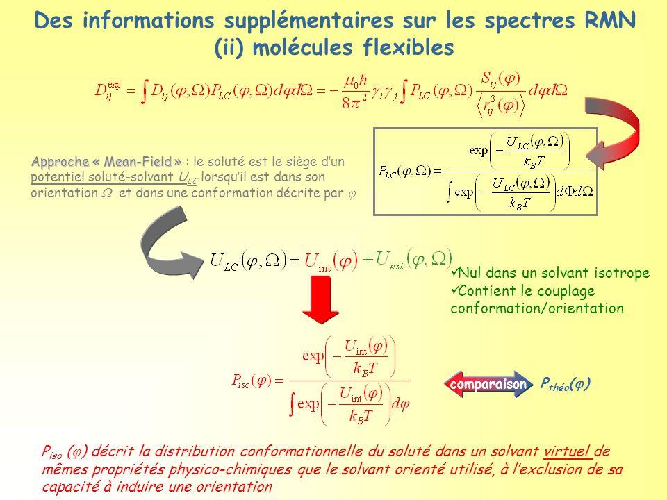 Des informations supplémentaires sur les spectres RMN (ii) molécules flexibles P iso (  ) décrit la distribution conformationnelle du soluté dans un
