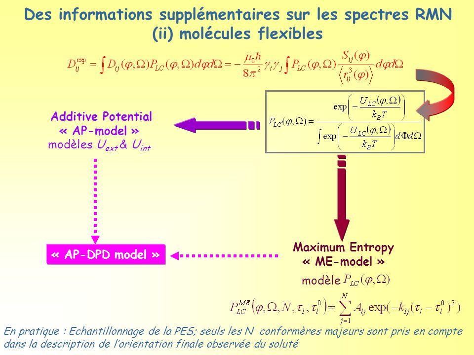 Des informations supplémentaires sur les spectres RMN (ii) molécules flexibles Additive Potential « AP-model » modèles U ext & U int En pratique : Echantillonnage de la PES; seuls les N conformères majeurs sont pris en compte dans la description de l'orientation finale observée du soluté Maximum Entropy « ME-model » modèle « AP-DPD model »