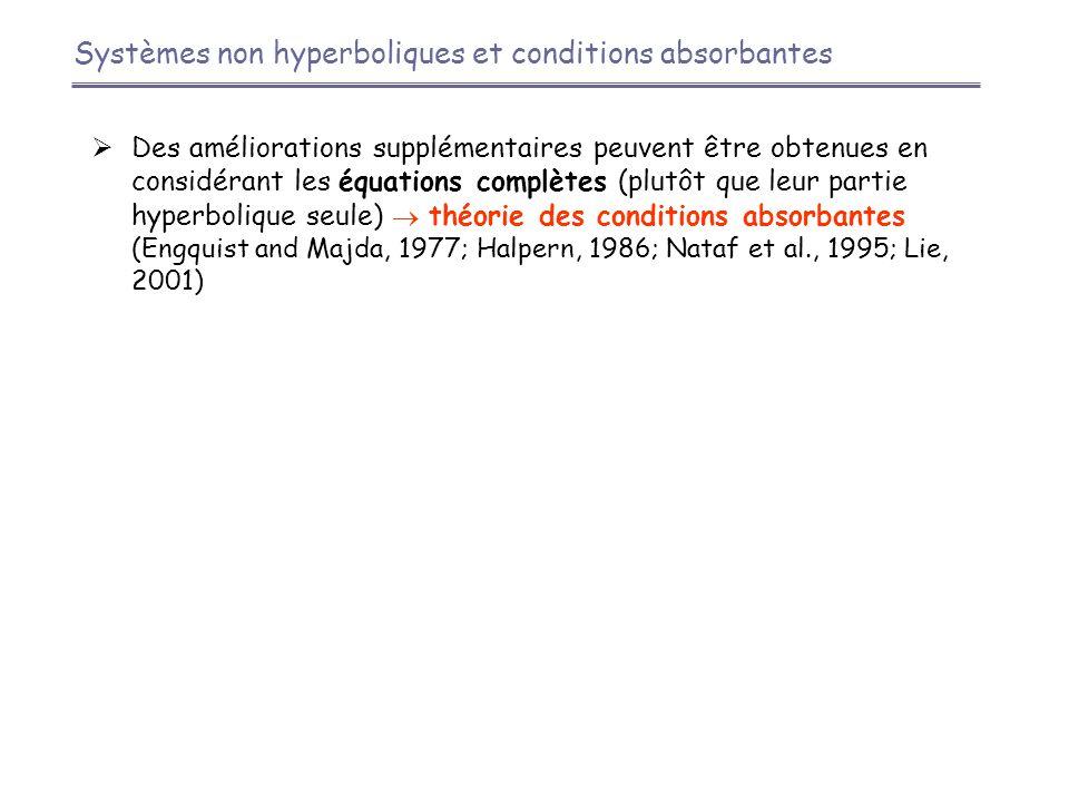 Systèmes non hyperboliques et conditions absorbantes  Des améliorations supplémentaires peuvent être obtenues en considérant les équations complètes (plutôt que leur partie hyperbolique seule)  théorie des conditions absorbantes (Engquist and Majda, 1977; Halpern, 1986; Nataf et al., 1995; Lie, 2001)