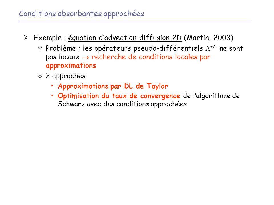  Exemple : équation d'advection-diffusion 2D (Martin, 2003)  Problème : les opérateurs pseudo-différentiels  +/- ne sont pas locaux  recherche de