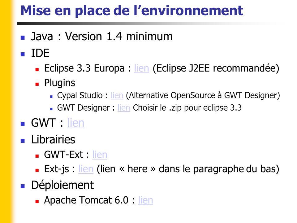 Mise en place de l'environnement Java : Version 1.4 minimum IDE Eclipse 3.3 Europa : lien (Eclipse J2EE recommandée)lien Plugins Cypal Studio : lien (Alternative OpenSource à GWT Designer)lien GWT Designer : lien Choisir le.zip pour eclipse 3.3lien GWT : lienlien Librairies GWT-Ext : lienlien Ext-js : lien (lien « here » dans le paragraphe du bas)lien Déploiement Apache Tomcat 6.0 : lienlien